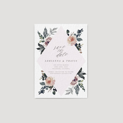 Dark moody floral Save the date gray plum mauve