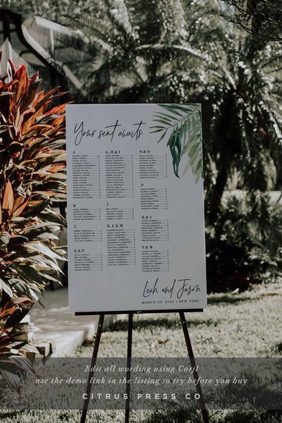 Modern Tropical Seating Chart Wedding Ceremony Reception Corjl Tempate DIY PDF Digital Downalod