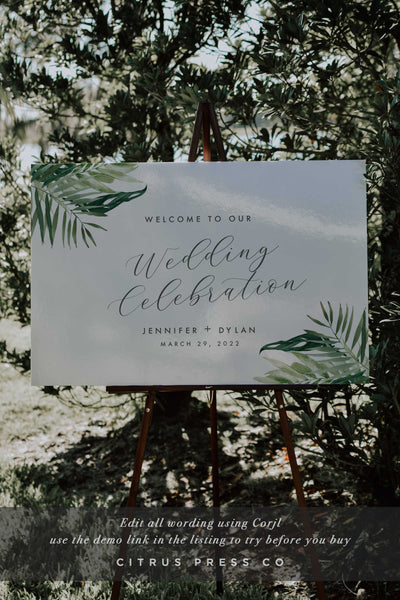 Tropical Wedding Welcome Ceremony Sign Corjl Templett PDF DIY Editable Template Digital Download