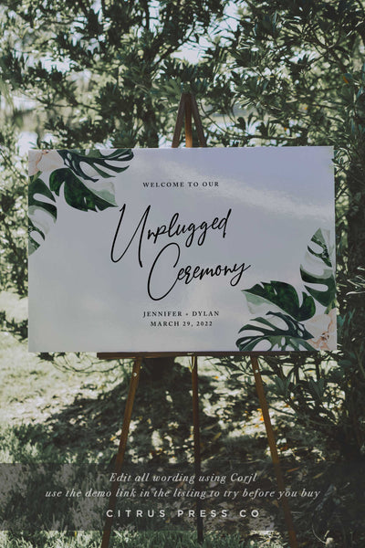 Tropical Wedding Welcome Ceremony Sign Corjl Editable Sign PDF DIY Template