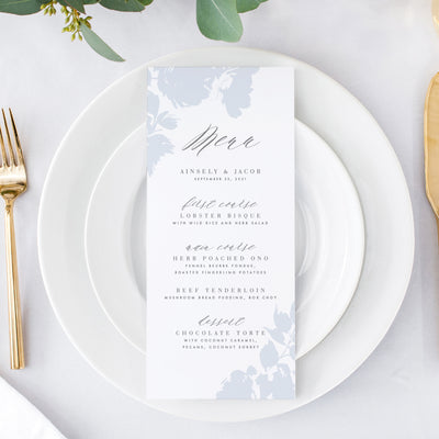 Blue romantic wedding reception menu