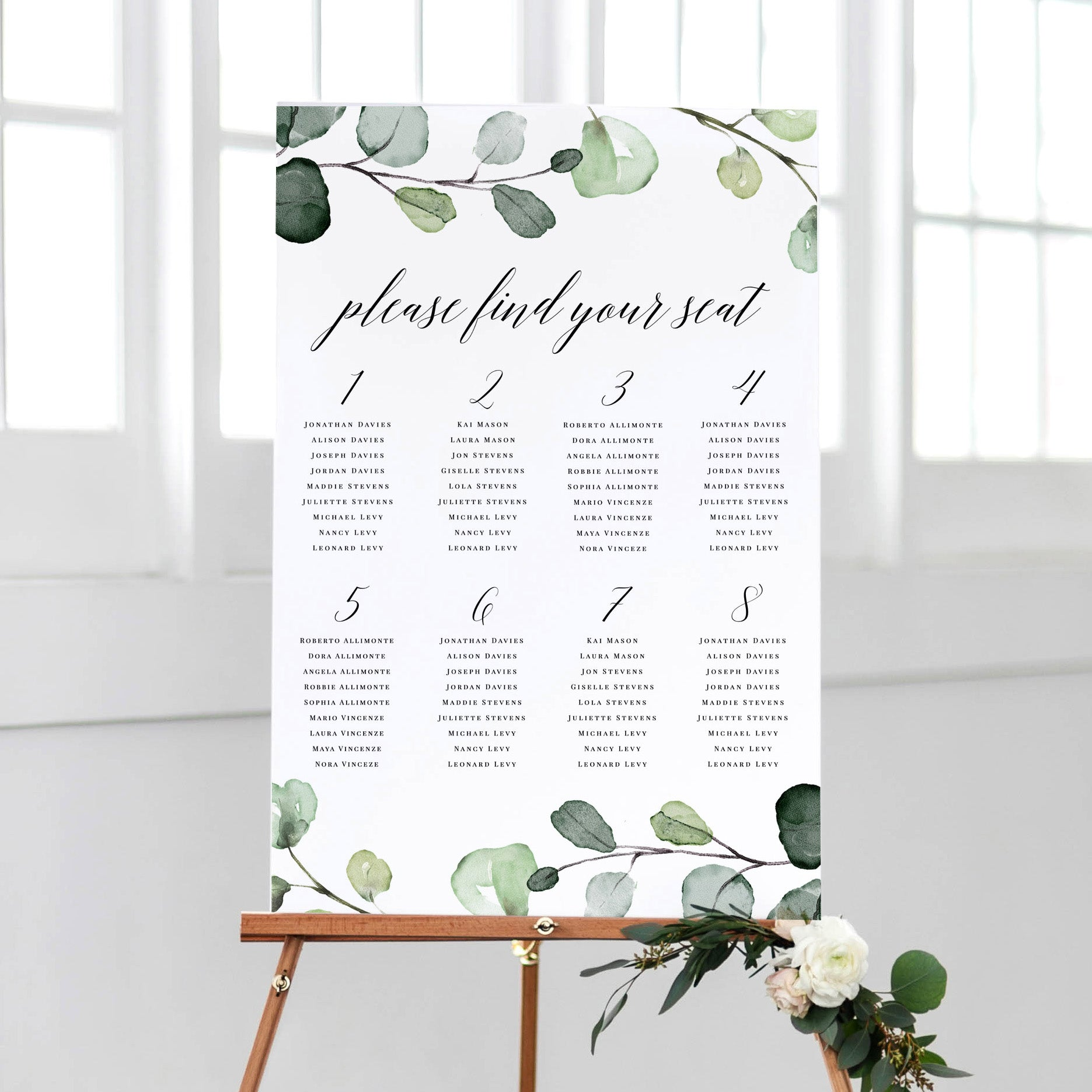 Eucalyptus Greenery Wedding Seating Chart Pdf Template