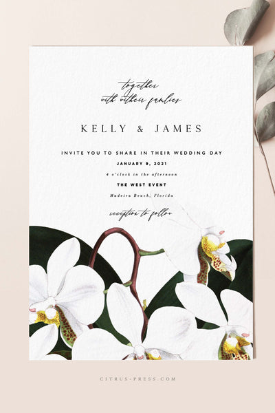 Modern Orchid Wedding Invitation Tropical Beach Card