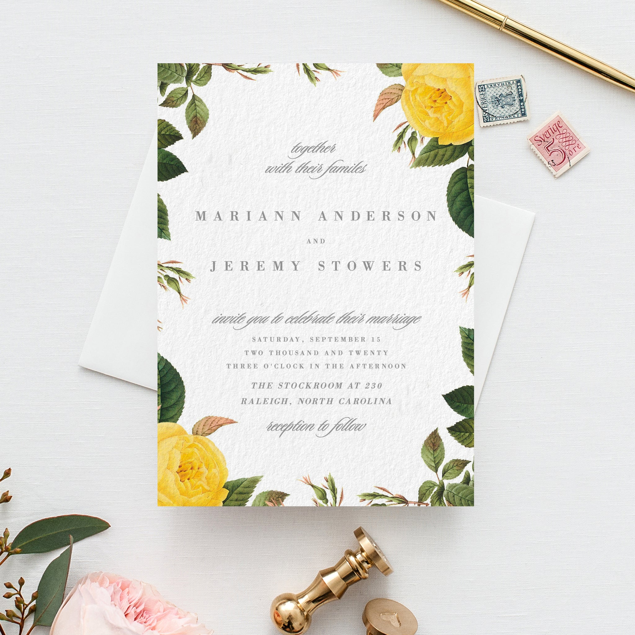 Wedding Invition Cards.Botanical Floral Wedding Invitation Yellow Flower Pdf Template
