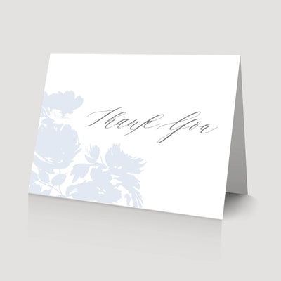 blue floral wedding thank you card