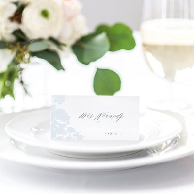 Blue romantic wedding reception place card escort card