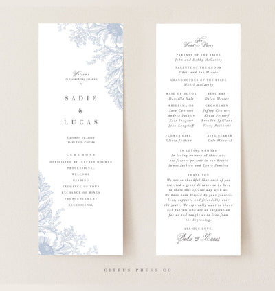 romantic blue floral wedding program for reception