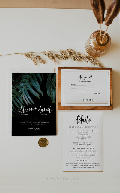 Dark Moody Tropical Wedding Invitation Printable Template