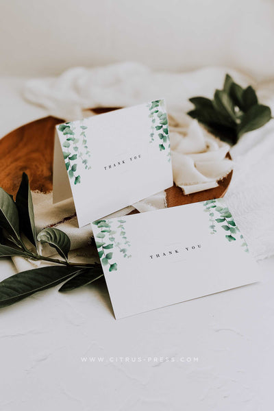 Eucalyptus Thank You Card Wedding
