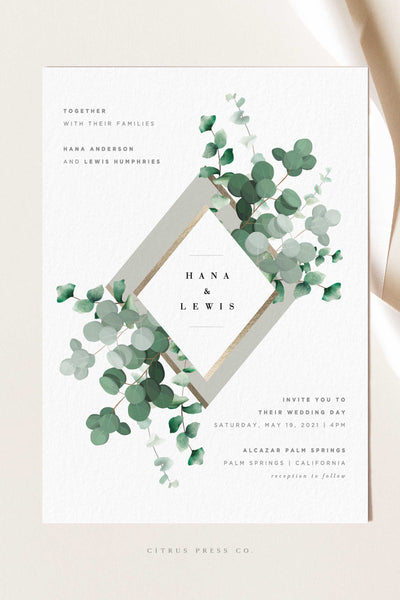 Modern Greenery Eucalyptus Leaves Wedding Invitations