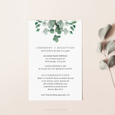 Modern Eucalyptus Wedding Invitation Enclosure card