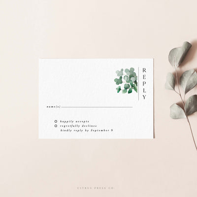 Modern Eucalyptus Wedding Invitation RSVP card