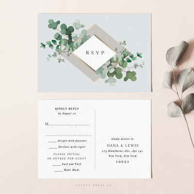 Modern Eucalyptus Wedding Invitation RSVP Postcard