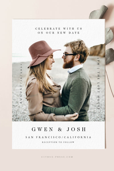 Modern Changed the Date Postponed Save the Date Photo Announcement Card