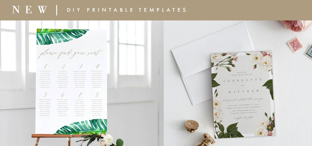 DIY PDF Printable Templates Wedding Invitation cards, seating charts, rsvp, card, enclosures, stamps
