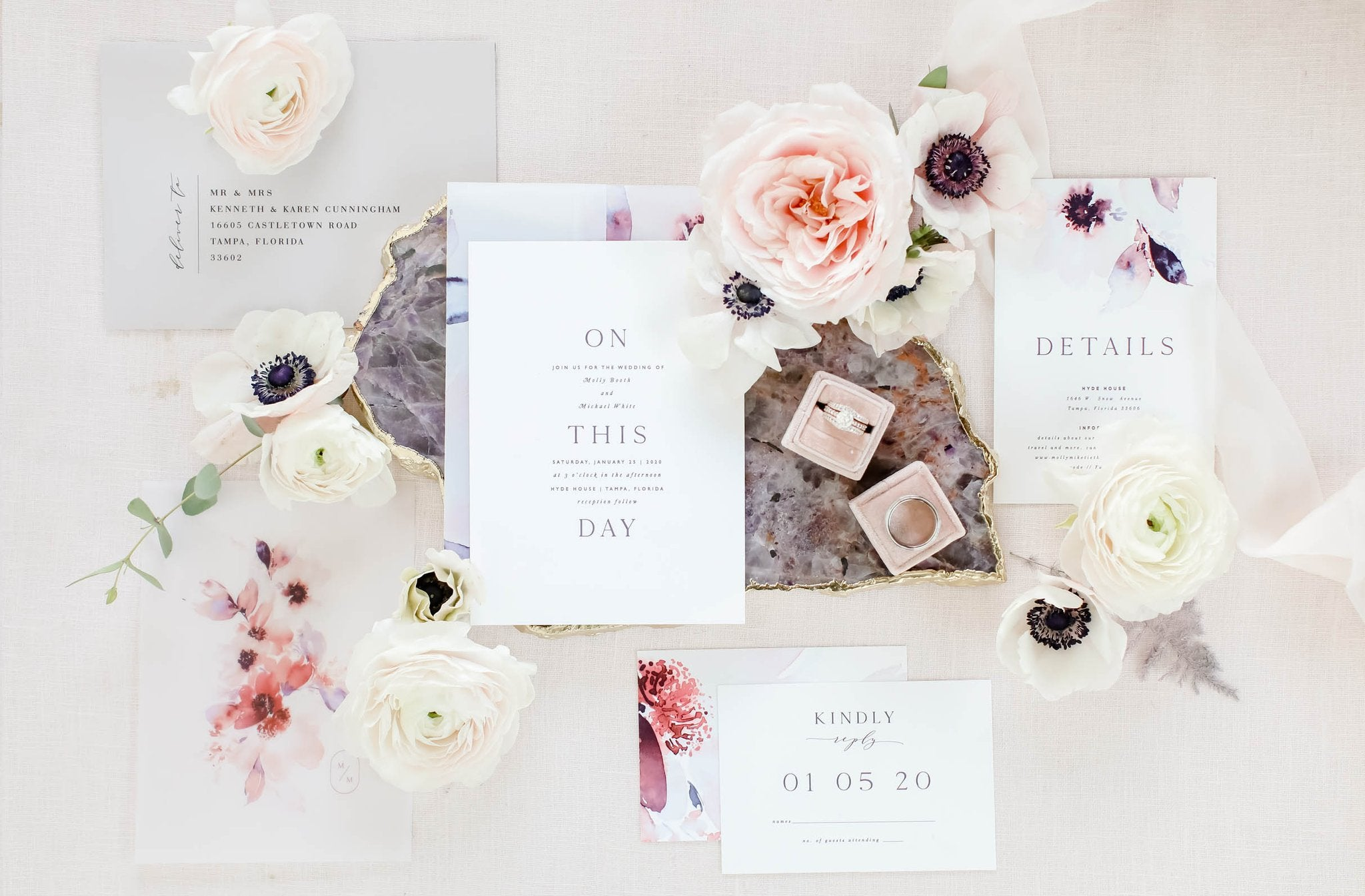 wedding invitation suite tropical destination orchid modern minimalist boho beach fine art floral wedding suite stationery