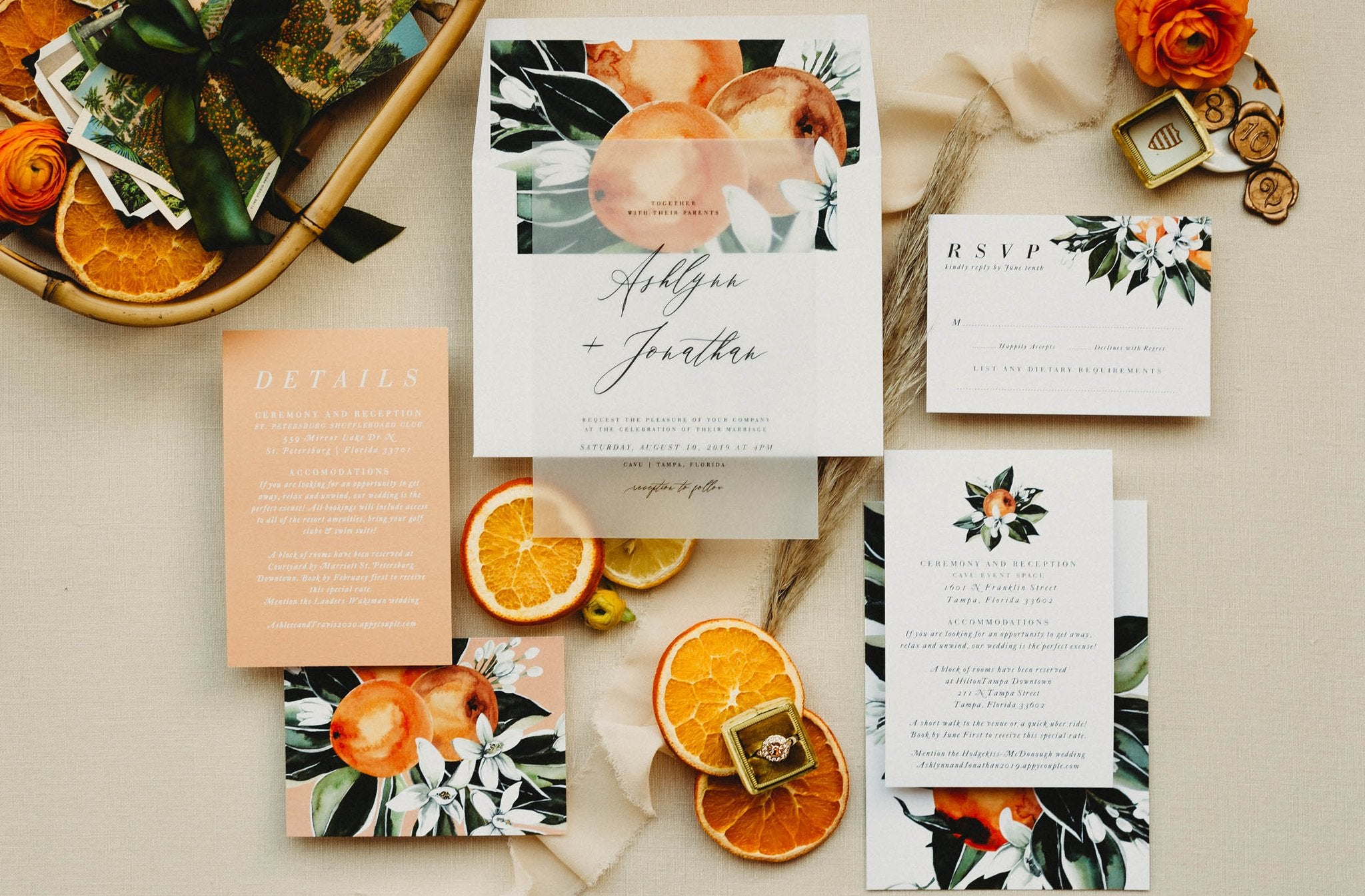 Dark Moody watercolor wedding invitaiton stationery