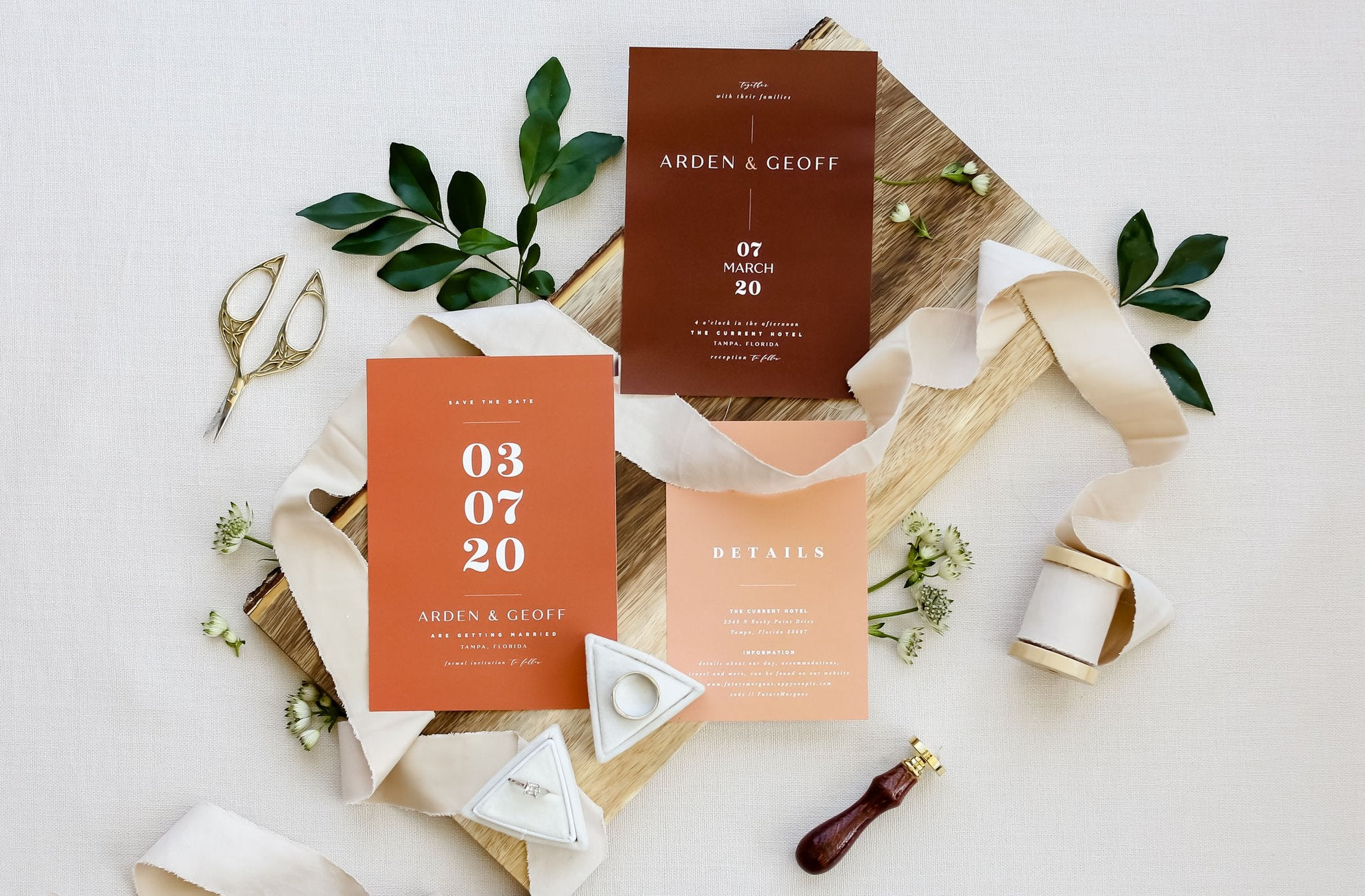 Botanical Greenery Destination wedding stationery