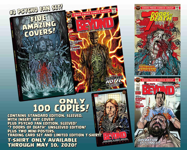 The Beyond Issue #3 Psycho Fan Set! 3 Comics With 2 Variant Covers! Plus A Full Color T-Shirt! 4 Trading Cards, Poster and MUCH MORE - Only 100 Copies!