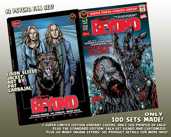 The Beyond Issue #2 Psycho Fan Set! 3 Comics With 2 Variant Covers! Plus GOLD Symbol Of Eibon Enamel Pin in custom velvet bag, 4 trading cards and MUCH MORE - Only 100 Copies!