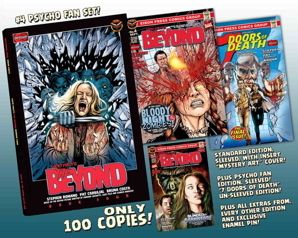The Beyond Issue #4 Psycho Fan Set! 3 Comics With 2 Variant Covers! 5 Covers Total! Plus Enamel Pin! Trading Cards and MUCH MORE - Only 100 Copies!