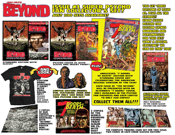 The Beyond Issue #1 Psycho Fan Set! 3 Comics With 2 Variant Covers! 2 Soundtrack CD's, plus a T-Shirt, Enamel Pin and MUCH MORE -  Only 100 Copies!