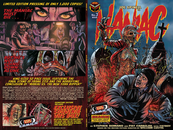 Maniac Issue #3 Psycho Fan Personalized Set! Rare Variant Cover! Exclusive 120 Page Maniac script book, Double sided poster, TWO VHS Boxes and MORE!