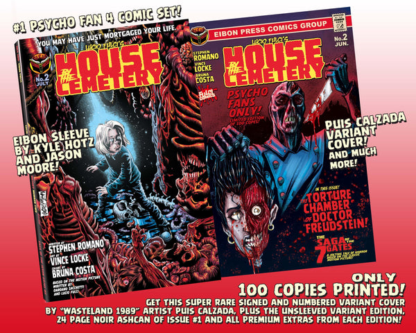 House By The Cemetery Issue #2 Psycho Fan Set! 4 Comics! TWO Variant Covers! Plus Mini-Ashcan Signed By Vince Locke! ALL EXTRAS! Only 100 Copies!