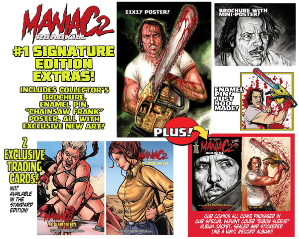 Maniac 2: Roadkill Psycho Fan Set! 4 Books! 3 Variants! Sketch Book! Enamel Pin! Poster! Art Cards! Only 100 Sets!