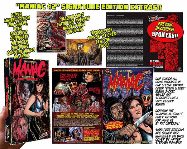 Maniac Issue #2 Psycho Fan Personalized Set! Exclusive Variant Cover, Enamel Pin, Mini Poster & TWO VHS Boxes! Sold Out!