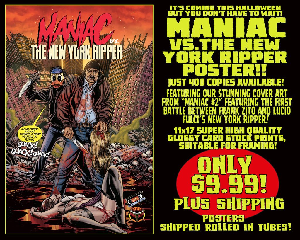 Maniac vs The New York Ripper 11 x 17 Comic Cover Poster Print! Only $9.99!