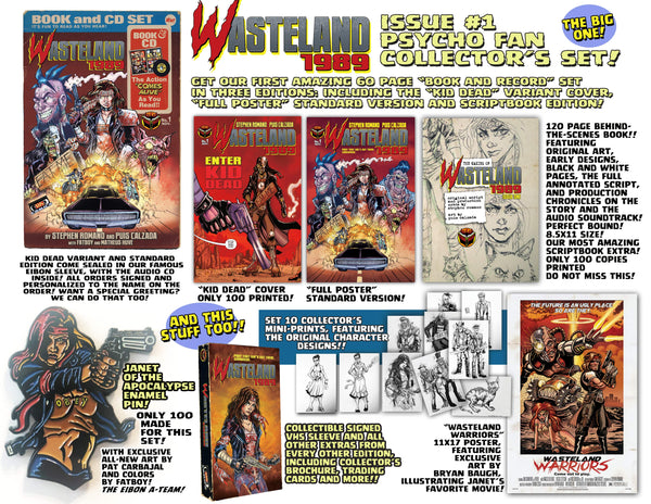 Wasteland 1989 Issue #1 Psycho Edition! 3 Comics including 120 Page Script Book! 2 Soundtrack CD's, plus a VHS Box, Enamel Pin and MUCH MORE - Only 100 Copies!