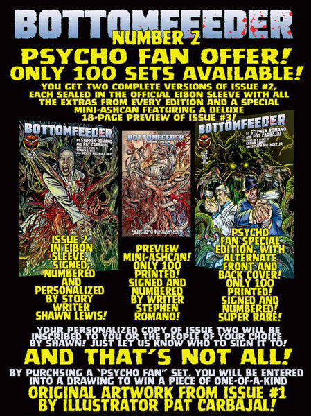 Bottomfeeder #2 Psycho Fan Three Comic Personalized Set - Only 100 Copies! (Only 6 copies left!)