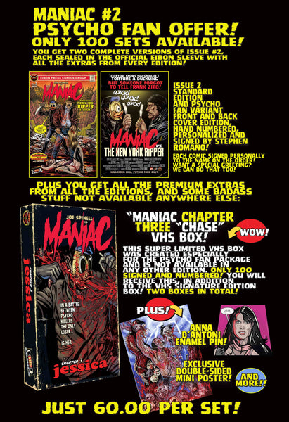 Maniac Issue #2 Psycho Fan Personalized Set! Exclusive Variant Cover, Enamel Pin, Mini Poster & TWO VHS Boxes! Only 100 Copies!