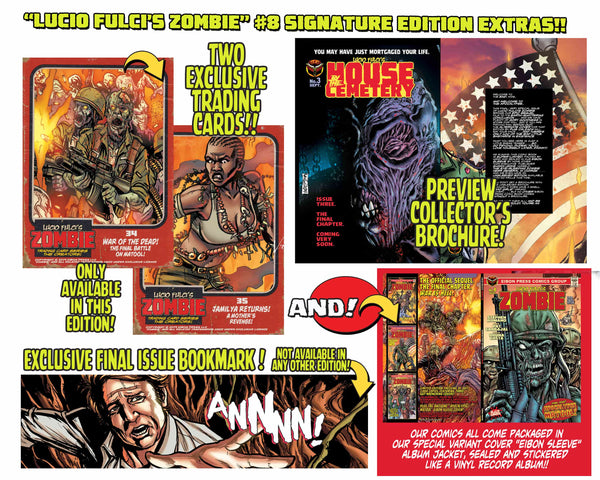 Zombie Issue #8 Signature Sleeved Edition! Two Exclusive Trading Cards! Signed! - Only 300 Copies!