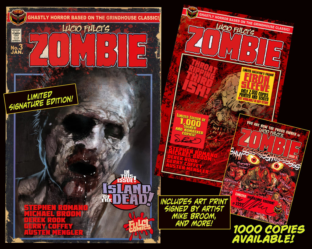 LUCIO FULCI'S ZOMBIE #3 With EIBON SLEEVE SIGNED EDITION Only 1,000!