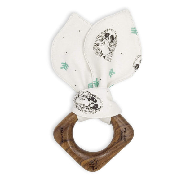 Organic Cotton + Wood Teething Ring Sloth