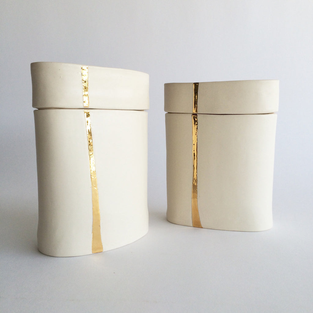 Gold Stripe Ceramic Jar