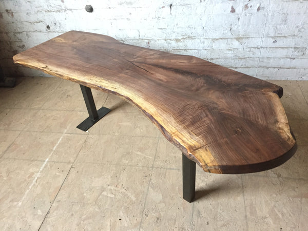 Custom Walnut Steel Leg Coffee Table