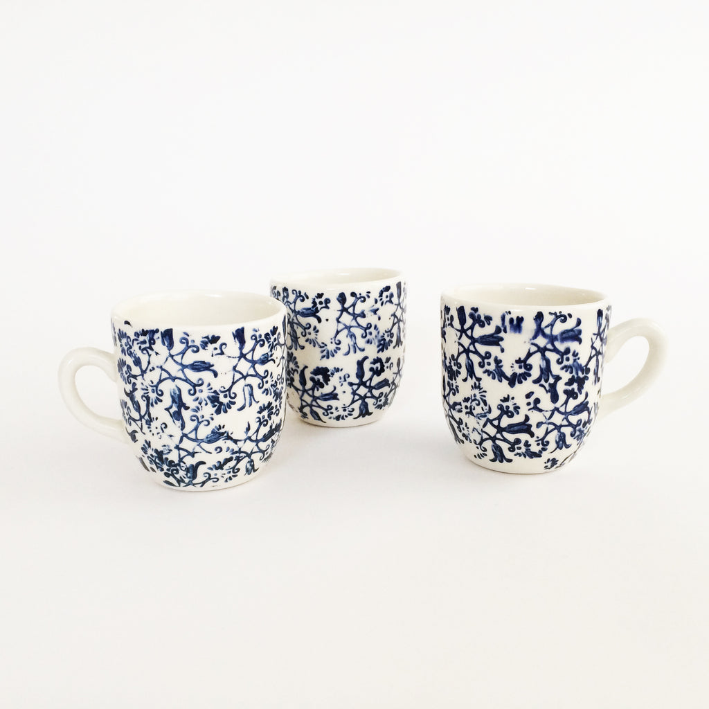 Blue + White Stoneware Cafe Cup