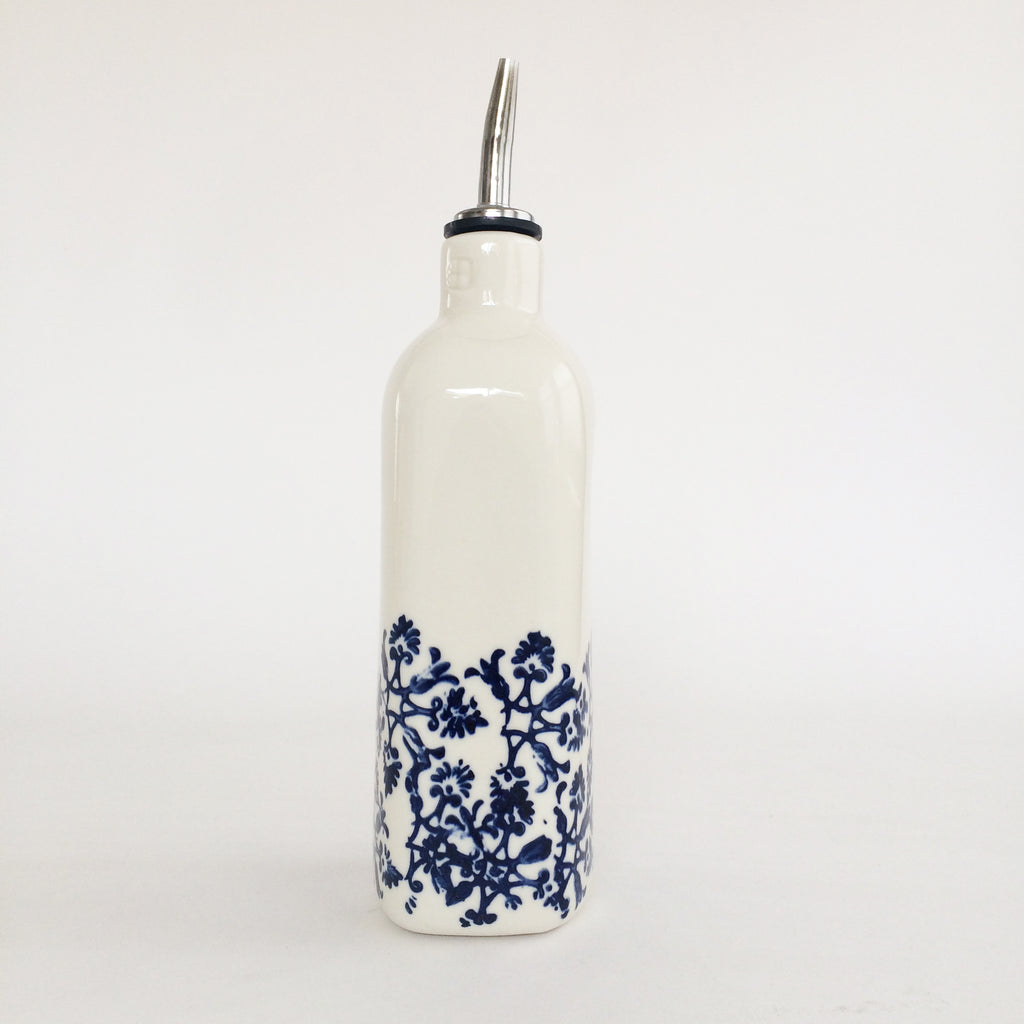 Blue + White Stoneware Olive Oil Bottle