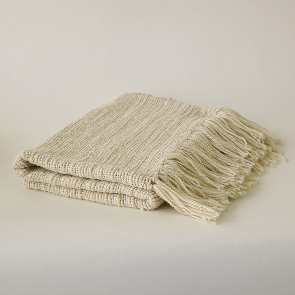 Ecru Clouds Fringe Throw
