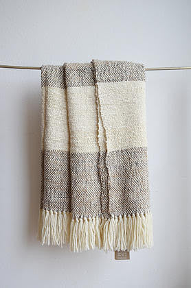 Ecru Grey + Brown Throw