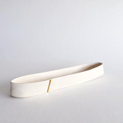 Gold Stripe Ceramic Dish
