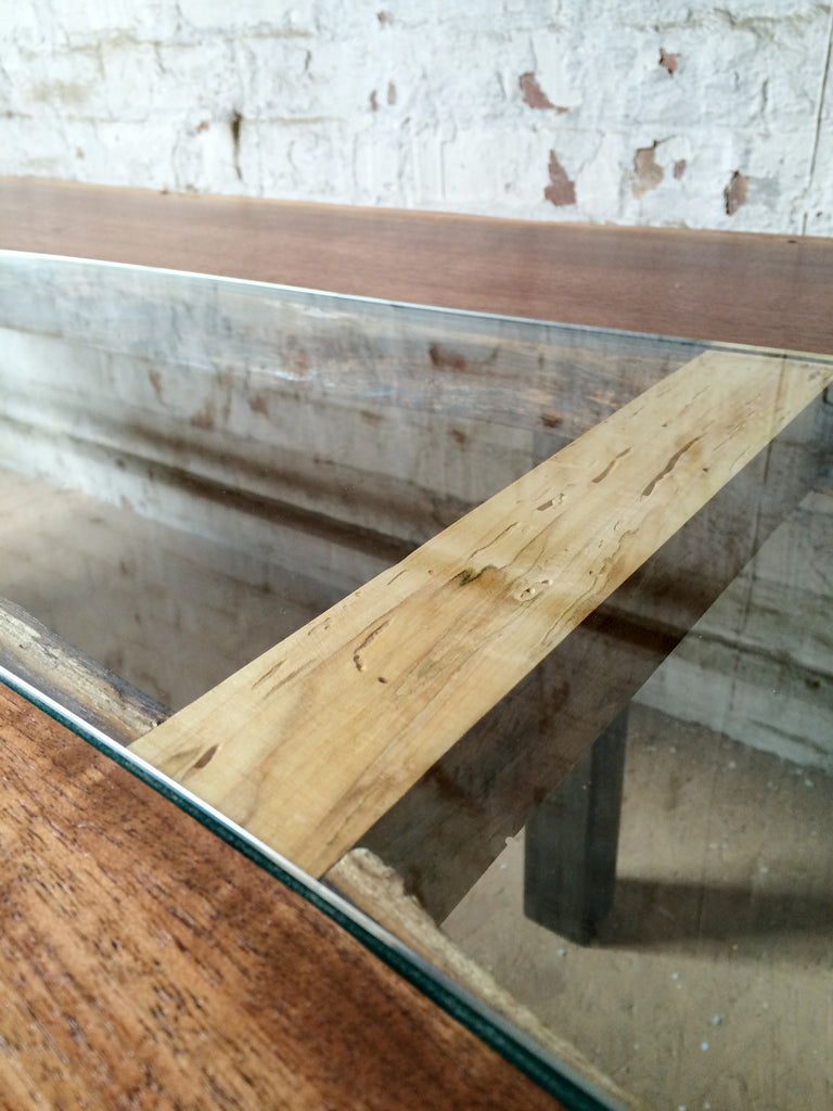 Walnut + Glass Coffee Table