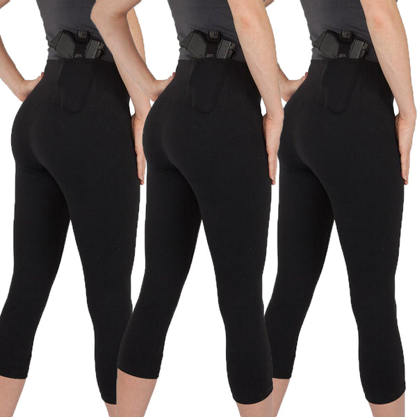 Women's Concealed Carry Original Leggings Crop Length 3 Pack - Undertech Undercover