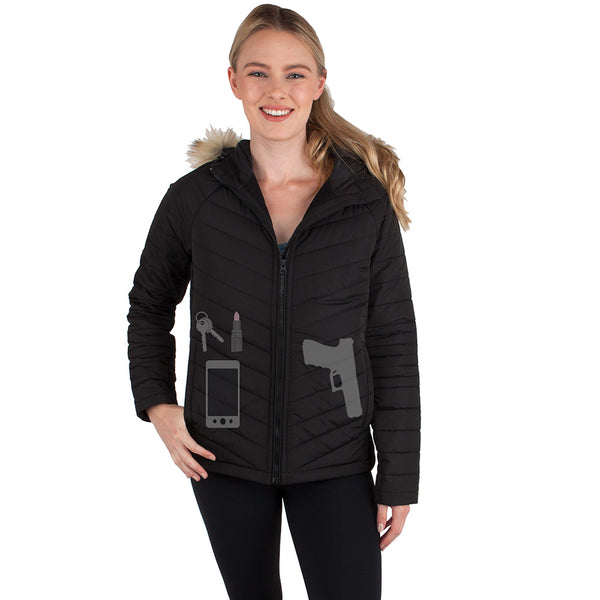 **Women's Concealed Carry Alpine Faux Fur Jacket - Undertech Undercover