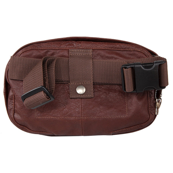 Medium Leather Fanny Pack - Brown - Undertech Undercover