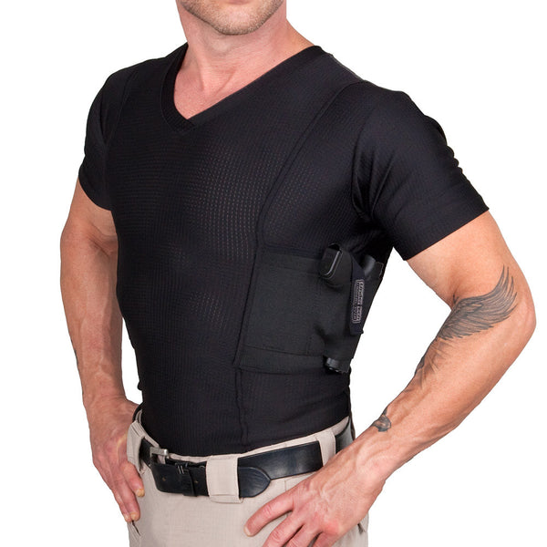 Men's Concealed Carry V-Neck Coolux Shirt - Undertech Undercover