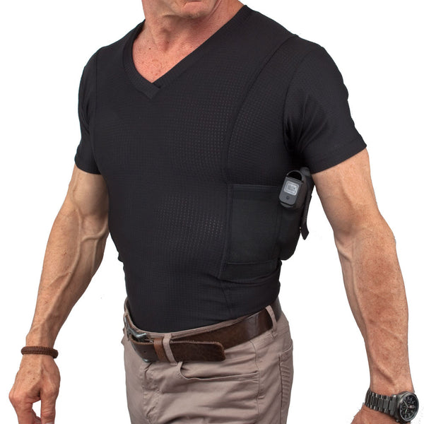 Mens Concealed Carry Coolux Mesh V-Neck Tee - Undertech Undercover